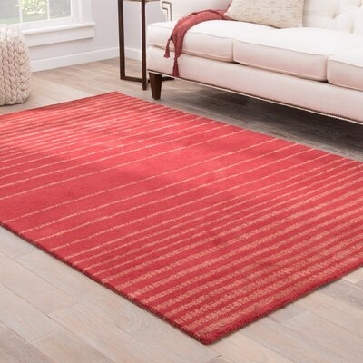 Sloane Hand-Tufted Red/Salmon Area Rug Rug Size: 5 x 8