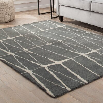 Heiss Hand-Tufted Gray/Cream Area Rug Rug Size: 5 x 8