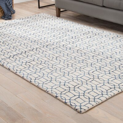 Birch Hill Hand-Tufted Cream/Indigo Area Rug Rug Size: Rectangle 5 x 8