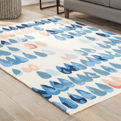 Heitz Ivory/Blue/Peach Indoor/Outdoor Area Rug Rug Size: 2 x 3