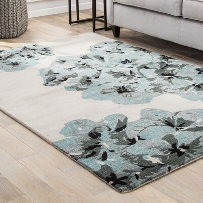 Stacia Hand-Tufted Cream/Blue/Gray Area Rug Rug Size: 9 x 12