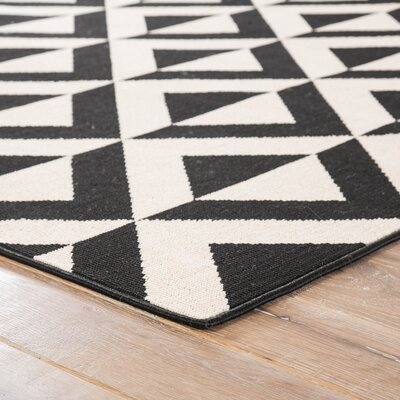 Venti Hand-Knotted Black/Cream Indoor/Outdoor Area Rug
