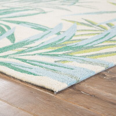 Halona Hand Hooked Green/Cream Indoor/Outdoor Area Rug Rug Size: Rectangle 5 x 76