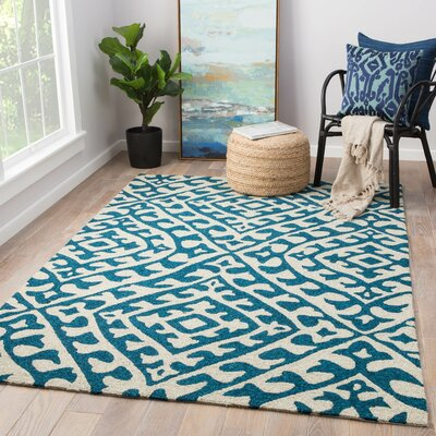 Devereaux Hand Hooked Cream/Teal Indoor/Outdoor Area Rug Rug Size: Rectangle 76 x 96