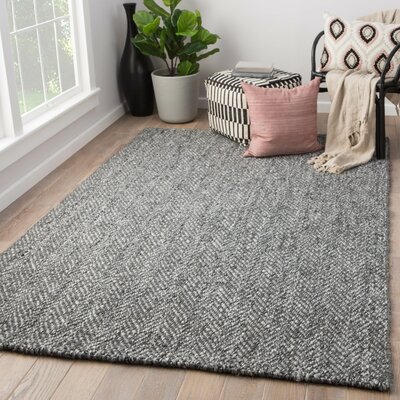 Terre Hand-Loomed Black Area Rug Rug Size: Rectangle 5 x 8