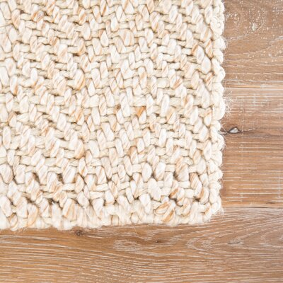 Terre Hand-Loomed White Area Rug Rug Size: Rectangle 9 x 12