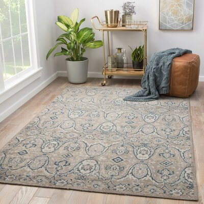 Angkor Hand-Knotted Wool Gray Area Rug Rug Size: Rectangle 5 x 8
