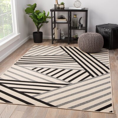 Ace Hand-Knotted Black/Gray Indoor/Outdoor Area Rug Rug Size: Rectangle 53 x 76