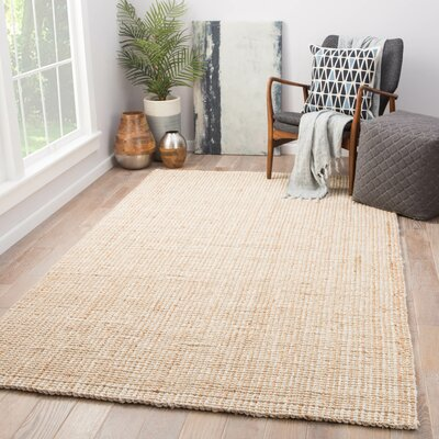 Cayman Hand-Loomed Tan/White Area Rug Rug Size: Rectangle 10 x 14