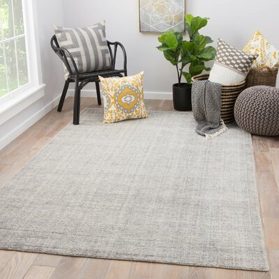 Lev Hand-Knotted Light Gray Area Rug Rug Size: Rectangle 5 x 8