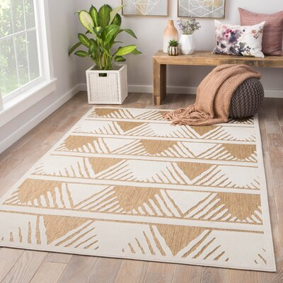 Makenna Power-Loomed Beige/White Indoor/Outdoor Area Rug Rug Size: Rectangle 5 x 76