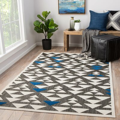 Rouvin Power-Loomed Gray/White Indoor/Outdoor Area Rug Rug Size: Rectangle 21 x 37