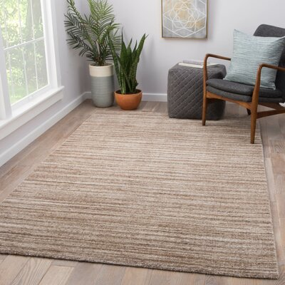 Hadrian Hand-Loomed Wool Taupe Area Rug Rug Size: Rectangle 9 x 13