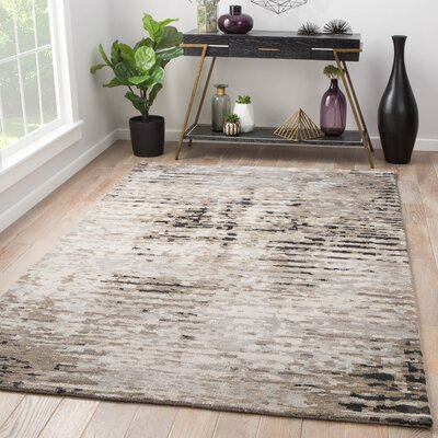 Brice Hand-Knotted Gray Area Rug Rug Size: Rectangle 9 x 13