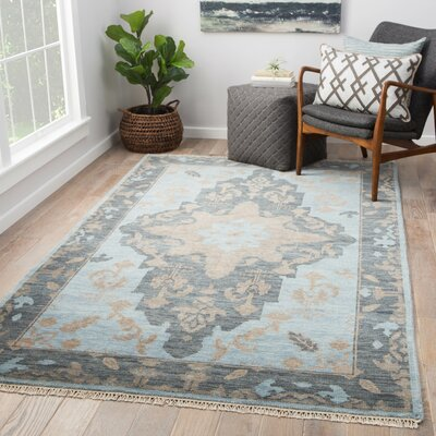 Rheya Hand-Knotted Wool Blue Area Rug Rug Size: Rectangle 9 x 12