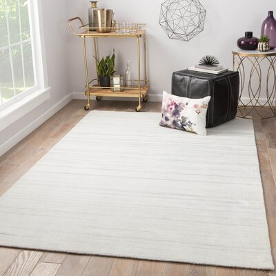 Fleet Hand Loomed White Area Rug Rug Size: Rectangle 9 x 12
