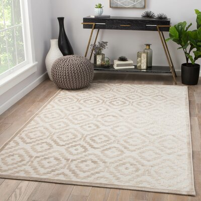 Savarin Power-Loom Cream Area Rug Rug Size: Rectangle 76 x 96