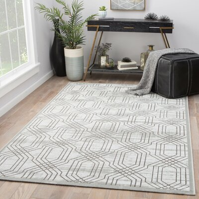 Marsielle Power-Loomed White Area Rug Rug Size: Rectangle 76 x 96
