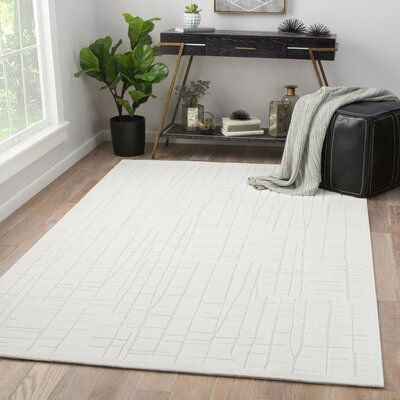 Eline Power-Loomed White Area Rug Rug Size: Rectangle 9 x 12