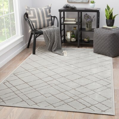 Basset Power-Loomed White Area Rug Rug Size: Rectangle 2 x 3