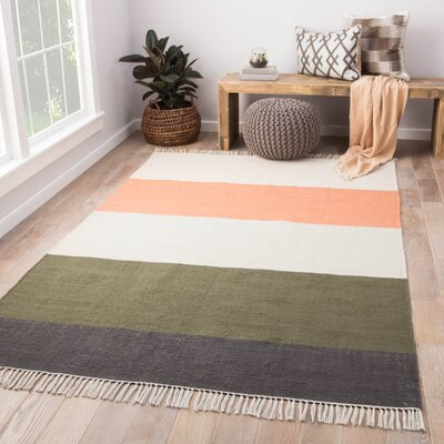 Tahoe Flat Woven Coral/Green Indoor/Outdoor Area Rug Rug Size: Rectangle 2' x 3'