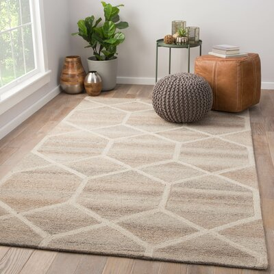 Tulsa Hand Tufted Wool Beige Area Rug Rug Size: Rectangle 5 x 8