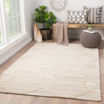 Bronx Hand Tufted Wool Cream Area Rug Rug Size: Rectangle 5 x 8