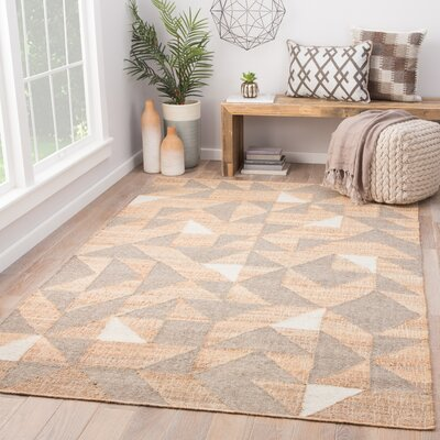 Leeds Hand Woven Beige/Gray Area Rug Rug Size: Rectangle 5 x 8
