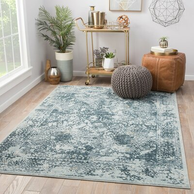 Olwyn Power-Loomed Blue Area Rug Rug Size: Rectangle 9 x 12
