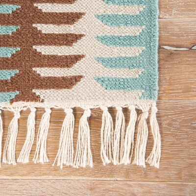 Afton Hand Woven Beige/Teal Area Rug Rug Size: Rectangle 8 x 10
