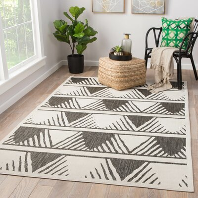 Makenna Gray/Off White Indoor/Outdoor Area Rug Rug Size: Rectangle 21 x 37
