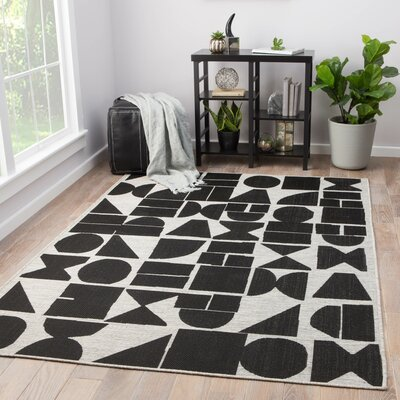 Cressey Jet Black Indoor/Outdoor Area Rug Rug Size: Rectangle 54 x 77