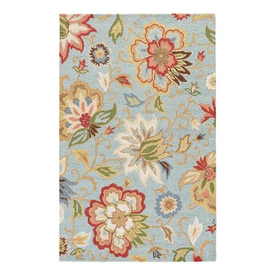 Dilbeck Light Turquoise Floral Area Rug Rug Size: Rectangle 36 x 56