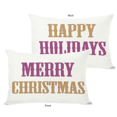 Holiday Merry Christmas and Happy Throw Pillow