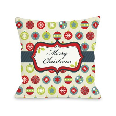 Merry Christmas Ornaments Throw Pillow Size: 26 H x 26 W