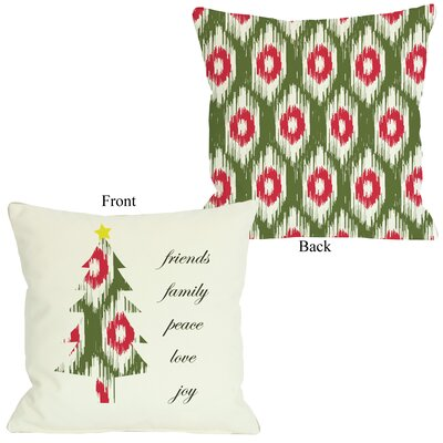 Friends Family Peace Ikat Christmas Tree Reversible Throw Pillow Size: 16 H x 16 W