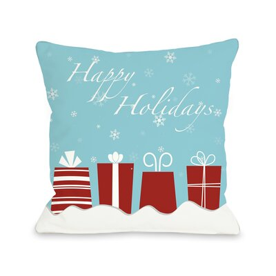 Happy Holidays Presents Throw Pillow Size: 16 H x 16 W
