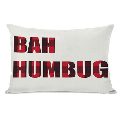 One Bella Casa Holiday Plaid Bah Humbug Reversible Pillow