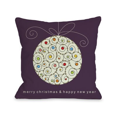 Holiday Large Ball Ornament Throw Pillow