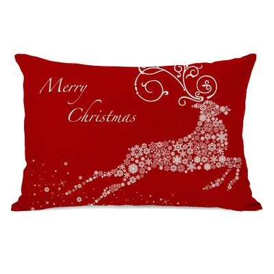 Holiday Snowflake Reindeer Lumbar Pillow Color: Red