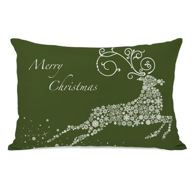 Cantor Snowflake Reindeer Lumbar Pillow Color: Green
