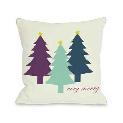 Very Merry Christmas Trees Reversible Throw Pillow Size: 16 H x 16 W