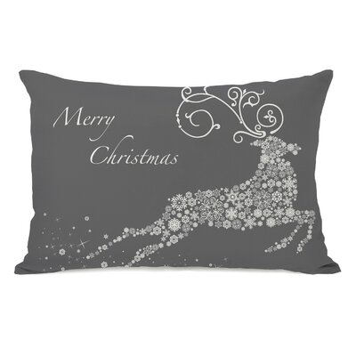 Holiday Snowflake Reindeer Lumbar Pillow Color: Grey