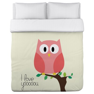 I Love You Owl Duvet Cover Size: Full / Queen