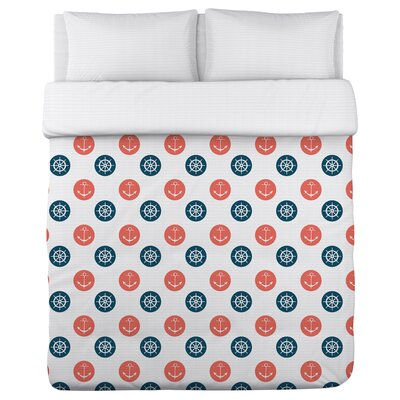 Anchor Wheel Polka Dot Duvet Cover Size: Full / Queen