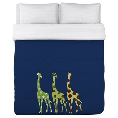 Sports Giraffes Duvet Cover Size: Full/Queen