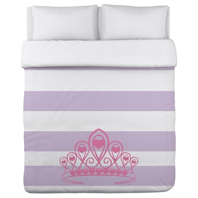 Crown Stripe Lightweight Duvet Cover Size: Full/Queen