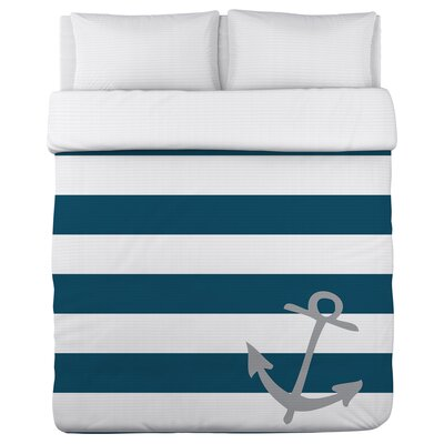 Striped Anchor Duvet Cover Size: Full/Queen