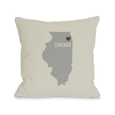 Chicago Heart Map Throw Pillow