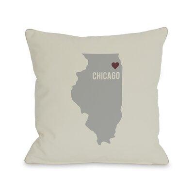 Chicago Heart Map Throw Pillow